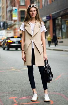sleeveless trench coat + white flats