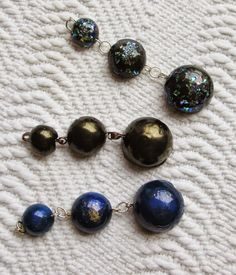 Trio of pendants made using a Karantha mould with 3 hemispheres. From my blog Baubles and Beads
