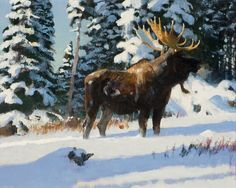 Jackson Hole Art Auction: Moose in Freshly Fallen Snow