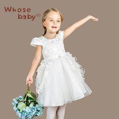 Whosebaby 2017 New Girl Dress Summer Spring Lace Flower Children Bridesmaid Toddler Elegant Clothing Pageant Wedding Dress #Affiliate