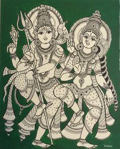 Kalamkari Shiva Parvathi