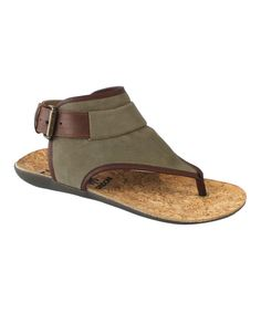 Look at this Khaki & Tank Miya Leather Sandal on #zulily today!