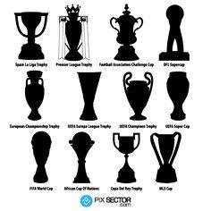 spain la liga trophy, premier league trophy, football association challenge cup, dfl supercup, european championship trophy, uefa europa league trophy, uefa champions trophy, uefa super cup, fifa world cup, african cup of nations, copa del rey rophy, mls cup