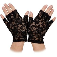 Ladies Fingerless Black Lace Gloves Fancy Dress Party Accessory (105 UYU) ❤ liked on Polyvore featuring accessories, gloves, fingerless gloves, dressy gloves, fancy gloves, lace gloves and party gloves