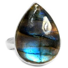 BLUE FIRE LABRADORITE 925 STERLING SILVER RING JEWELRY s.7