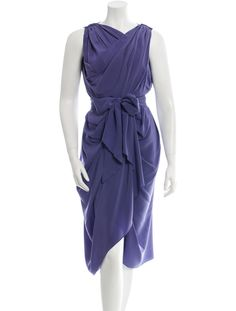 Purple Lanvin silk sleeveless draped dress with gathers at shoulders and self tie belt.
