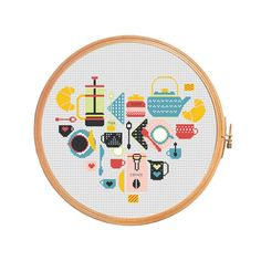 Kitchen: Coffee and Tea - Cross stitch pattern.  Floss: DMC Canvas: Aida 14 Grid Size: 144W x 122H Design Area: 10,14 x 8,57 (142 x 120 stitches)   Number of colors: 7  Use 2 strands of thread for cross stitch.  ONLY PATTERN! This PDF file counted cross stitch pattern is available for instant download.  This PDF pattern Included: - Color image of the finished design - Color Block Chart - Color Floss Legend with DMC stranded cotton.   In order to open these files you will need Adobe Reader…