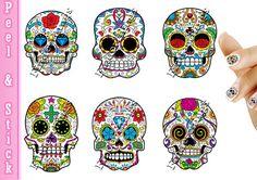Sugar Skulls Nail Art Decal Sticker Set SKU907 by TheFinderthings1