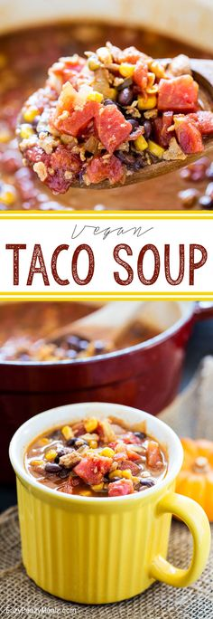 Taco Soup Vegan Taco Soup: A fall classic with a vegan twist. You'll never miss the meat, and you will LOVE the ease. Serious flavor too! - Eazy Peazy MealzEase Ease may refer to: At Ease may refer to: Vegan Soups, Vegan Vegetarian, Vegetarian Recipes, Vegan Food, Vegetable Recipes, Whole Food Recipes, Soup Recipes, Cooking Recipes, Chicken Recipes