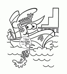 Funny Cartoon Steamship coloring page for kids, transportation coloring pages printables free - Wuppsy.com