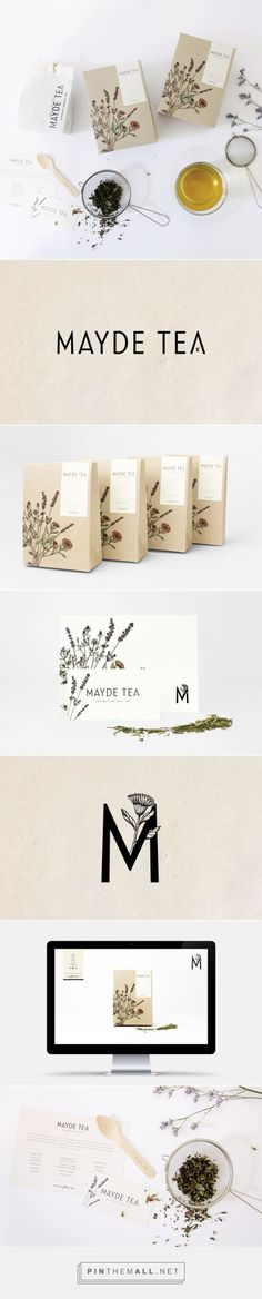 MAYDE Tea Branding and Packaging by Smack Bang Designs / Branding Ideas / Inspiration / Botanical / Natural / Organic / Wellness / Vintage - zahnpasta Tee Design, Font Design, Label Design, Package Design, Brand Design, Branding And Packaging, Tea Packaging, Design Packaging, Branding Agency