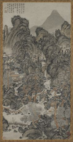 During the Ming dynasty, garden building was in ascendance, and the painter Shen Zhou often created works showing himself and his contemporaries in garden settings. Here he has revived an earlier style of painting associated with Wang Meng, whose wiry brushwork is featured in this scroll.| Landscape in the style of Wang Meng | 1491 | Shen Zhou (Chinese, 1427-1509) | Ming dynasty | Ink and color on paper | China | Purchase | Freer Gallery of Art | F1956.28