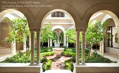 Italian Style Villa (but the concept would work with a Spanish style as well) Italian Courtyard, Italian Garden, Italian Villa, Tuscan Courtyard, Spanish Courtyard, Maison Atrium, Casa Atrium, Spanish Style Homes, Spanish House