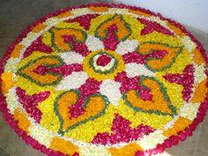 Rangoli design made from flower petals