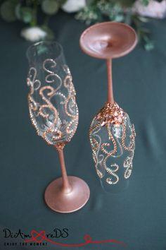 Rose Gold and Crystal Wedding Glasses Champagne Flutes Rose