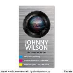 Stylish Metal Camera Lens Photographer QR Code Business Card