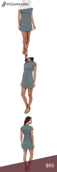 Free People Womens On The Line Ponte Dress Navy Curve-hugging ponte dress features classic allover stripes. Free People Womens On The Line Ponte Dress Navy Combo MD (Women's 8-10).  Banded collar and cap sleeves. Pull-on design. Straight hem falls at a flirty length. 87% polyester, 19% rayon, 3% spandex. Machine wash cold, dry flat. Imported. Product Measurements: Length: 33 in L15 Free People Dresses