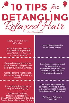 Relaxed Hair Care Tips ~ Try these 10 Easy Tips for Detangling Relaxed Hair by relaxedthairapy.com