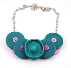 Teal and Pink Vintage Recycled Buttons Necklace by CuriousJewelry on Etsy