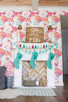 No fireplace? Here are 20 DIY faux fireplaces and mantels to build, for any spot in your home. Gingerbread Christmas Decor, Retro Christmas Decorations, Pink Christmas Tree, Christmas Porch, Christmas Mantels, Winter Christmas, Christmas Crafts, Holiday Decor, Whimsical Christmas