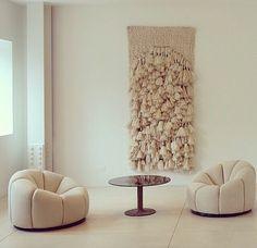 House Musing - Sheila Hicks / Pierre Paulin interior design neutral colors modern chairs macrame wall hanging