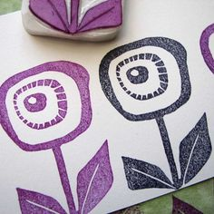 Hand carved abstract flower stamp