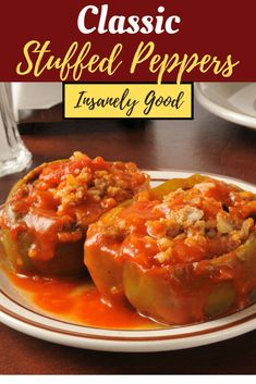 Stuffed bell peppers are a classic comfort food with rice, ground beef, a few savory seasonings, topped with tomato sauce. Cooking Recipes, Healthy Recipes, Vegetarian Recipes, Ground Beef Recipes, Ground Beef Rice, Ground Venison, Venison Recipes, Sausage Recipes, Potato Recipes