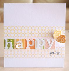 happy day card. A square of paper for each letter sticker