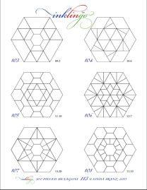 Pieced Hexagon Line Drawing