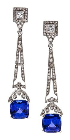 Platinum art deco style drop earrings with Diamonds and Tanzanite.