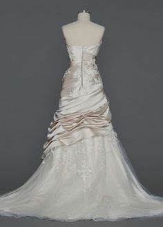 Satin Ball Gown with Appliques and Tulle Underlay - David's Bridal  @Kiaya Bishop - I like the back on this one