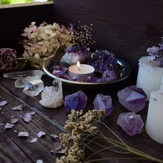 Beautiful amethyst crystals. There is a little witch in all of us's photo.