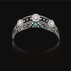 wearing at my wedding Emerald and Diamond Tiara from a German noble family