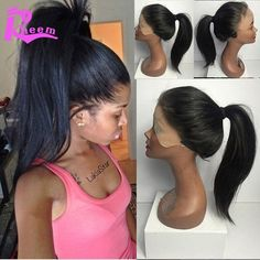 Glueless Full Lace Human Hair Wigs For Black Women Brazilian Lace Front Wig Virgin Ponytail Wig Straight Long Natural Lace Wigs Brazilian Lace Front Wigs, Brazilian Hair Wigs, Full Lace Front Wigs, Straight Lace Front Wigs, Front Lace, Straight Hair, Caramel Brown Hair, Blond, Ponytail Wig