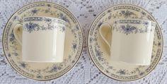 Vintage Minton Bone China Bellemeade Demitasse Cups & Saucers 2 Sets Blue…