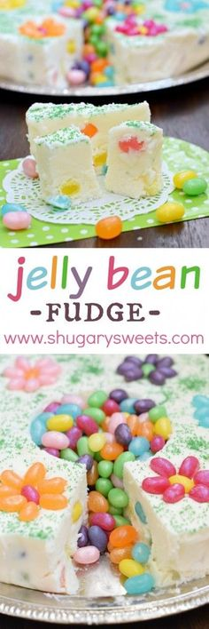 Jelly Bean Fudge: a delicious, beautiful spring dessert idea. Makes a great addition to your Easter or Mother's Day table, or a great gift for a teacher or new mom!