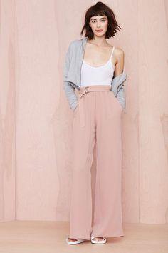 pink wide leg pants, trousers
