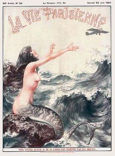 Herouard - 1927 June - mermaid and airplane by asoftblackstar, via Flickr