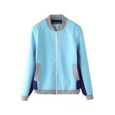 Stand Collar Color Block Double Pocket Long Sleeve Zipper Bomber... ($39) ❤ liked on Polyvore featuring outerwear, jackets, color block bomber jacket, stand up collar jacket, flight jacket, bomber jacket and colorblock jackets
