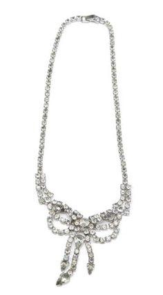 Vintage Rhinestone bow necklace