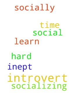 Introvert -  I am an introvert and socially inept. I have a hard time socializing. I need prayer that God will help me learn to be more social.  Posted at: https://prayerrequest.com/t/AZr #pray #prayer #request #prayerrequest