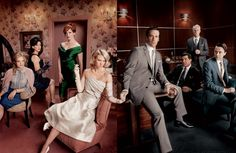 Mad Men cast photo, great way to pose a wedding party?  LOVE the style of the shot with the 2 worlds barely held together.