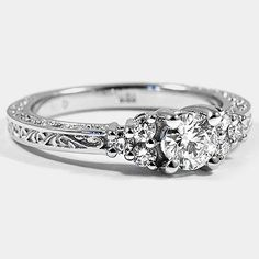 18K White Gold Adorned Trio Diamond Ring // Set with a 0.40 Carat, Round, Very Good Cut, G Color, IF Clarity Diamond #BrilliantEarth