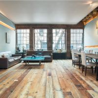 Home Decor. Fascinating Studio Apartment Interior Design Featuring Pallet Wood Floor Ideas With Corner Dining Room Set Also Living Room With Grey Leather Sofa And Square Coffee Table Decoration. Excellent Pallet Wood Floor For Cheap And Natural Home Flooring Ideas
