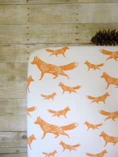 Crib Sheet in Orange Foxes Baby or Toddler Fitted by NeonEarthBaby, $65.00