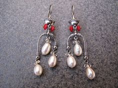 Sterling Silver Earrings with Pearl and Coral beads