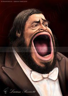 Luciano Pavarotti - Caricature by serksart.deviantart.com on @DeviantArt