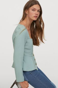 Peplum blouse in gently draped woven fabric. Square neckline, long sleeves, and buttons at front. Peplum Blouse, Square Necklines, Swimwear Fashion, Fashion Company, World Of Fashion, Mint Green, Style Guides, Sleeve Styles, Blouses For Women