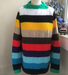 Calypso Hand Knitted Jumper Retro Style £62.00 Christmas Tree Jumper, Christmas Jumpers, Jumper Designs, Sweater Design, Mohair Sweater, Men Sweater, Yarn Colors, Black Stripes