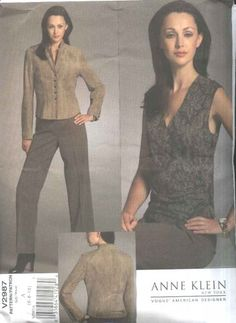 Vogue Sewing Pattern 2987 Misses Size 12-14-16 Anne Klein Lined Jacket Sleeveless Top Pants  --  Need a different sewing or craft pattern? Check out our store www.MoonwishesSewingandCrafts.com for 8000+ uncut sewing patterns all sizes and styles!